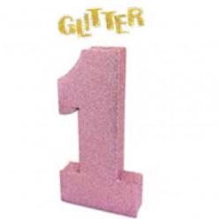 Decoração Mesa Glitter Rosa Número 1