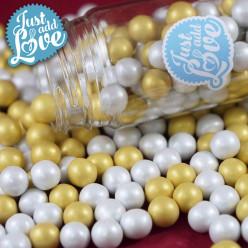 Decoração Pérolas Chocolate Ouro e Pérola 65g