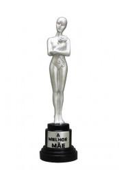 Estátua Prateada A Melhor Mãe 20cm