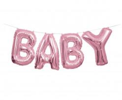 Faixa Banner De Balões Baby Rosa