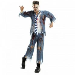 Fato colegial zombie halloween adulto