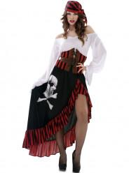 Fato Pirata Caveira Mulher Adulto