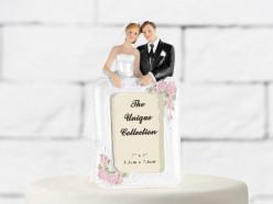 Figura Bolo Casamento Noivos c/Moldura para foto 14cm