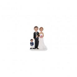 Figura Bolo Casamento Noivos com Filho 18cm