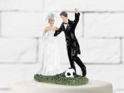 Figura Bolo Casamento Noivos Futebol 14cm