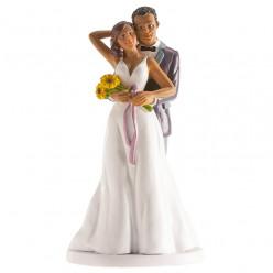 Figura Bolo Casamento Noivos Girassol 18cm