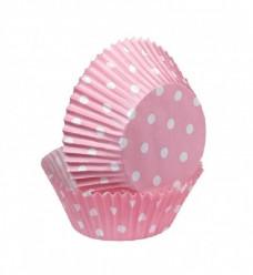 Forma de Papel Cupcake Rosa com bolinhas 75 unid