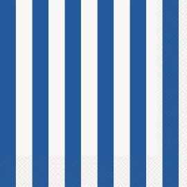 Guardanapos Riscas Azul e Branco – 16 Und