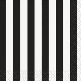 Guardanapos Riscas Pretas e Brancas – 16 Und