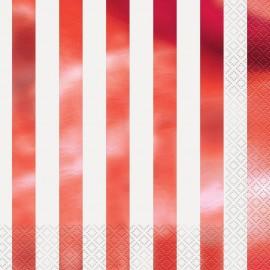Guardanapos Riscas Vermelhas – 16 Und