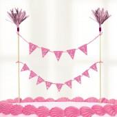Kit decoração comunhão rosa 23x24cm
