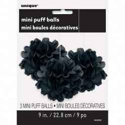 Mini Bolas Pom Pom Decorativas Pretas - 3 und