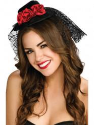 Mini Chapéu Preto com Rosas