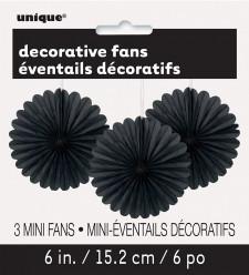 Mini Leques Decorativos Pretos - 3 und