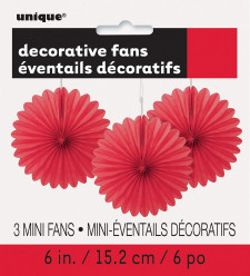 Mini Leques Decorativos Vermelhos - 3 und