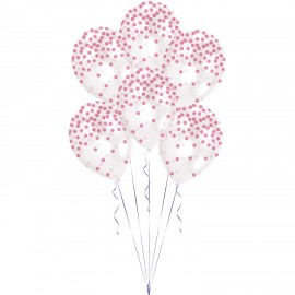 Pack 6 balões Latex Confetti Impresso Rosa