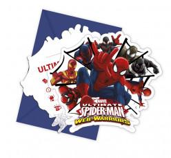 Pack 6 convites Spiderman Web Warriors