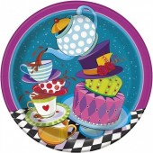 Pack 8 pratos redondos 23cm Chapeleiro Louco - Tea Party