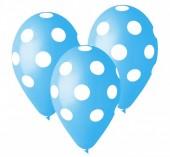 Pack de 5 balões azul claro com bolinhas