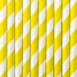 Palhinhas Papel Listadas Amarelo 10 uni