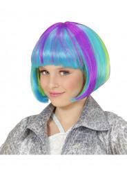 Peruca de cabelo médio multicolor