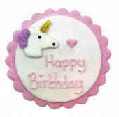 Placa de Açúcar  Happy Birthday Unicórnio