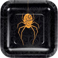 Prato Quadrado Aranha Halloween 17cm