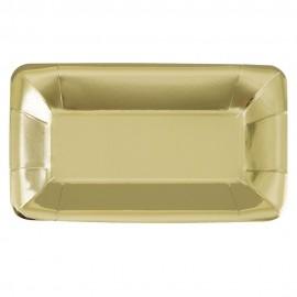 Pratos Aperitivos Dourados Rectangulares – 8 Und