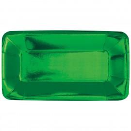 Pratos Aperitivos Verdes Rectangulares – 8 Und