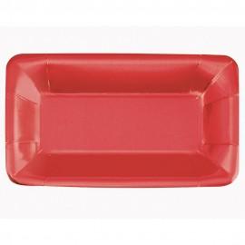 Pratos Aperitivos Vermelhos Rectangulares – 8 Und