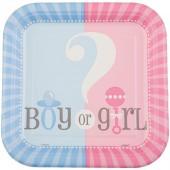 Pratos Baby Shower Boy or Girl? 18Cm – 8 Und