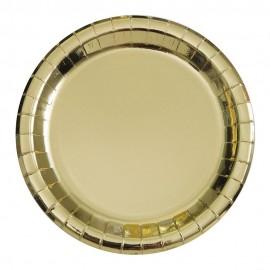 Pratos Dourados Metalizados 18cm – 8 Und