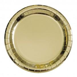 Pratos Dourados Metalizados 22cm – 8 Und