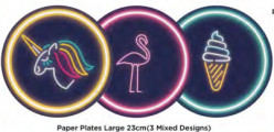 Pratos Neon Flamingo, Unicórnio e Gelado 23cm 8 uni
