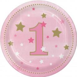 Pratos O Meu Primeiro Aniversário 8 unid menina