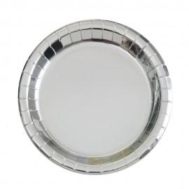 Pratos Prateados Metalizados 18cm – 8 Und