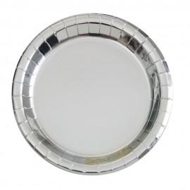 Pratos Prateados Metalizados 22cm – 8 Und
