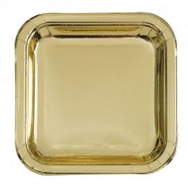 Pratos Quadrados Dourados 23cm – 8 Und