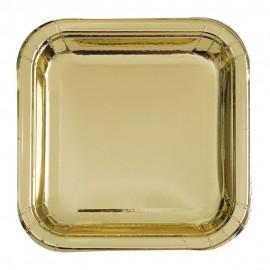 Pratos Quadrados Dourados Metalizados 18cm – 8 Und