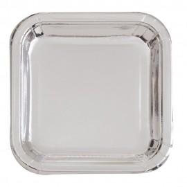Pratos Quadrados Prateados 23cm – 8 Und