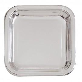 Pratos Quadrados Prateados Metalizados 18cm – 8 Und