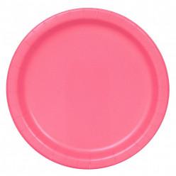 Pratos redondos 22cm Rosa Choque 16 unid