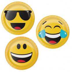 Pratos redondos  sortidos 17cm Faces Emojis 8 unid