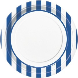 Pratos Riscas Azul e Branco 18cm – 8 Und