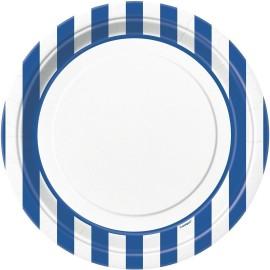 Pratos Riscas Azul e Branco 23cm – 8 Und