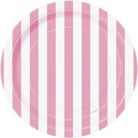 Pratos Riscas Rosa e Branco 18cm – 8 Und