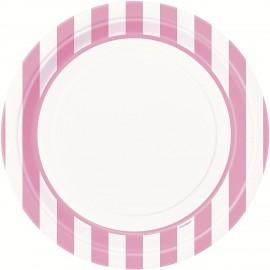 Pratos Riscas Rosa e Branco 23cm – 8 Und