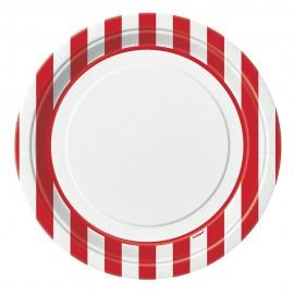 Pratos Riscas Vermelho e Branco 23cm – 8 Und