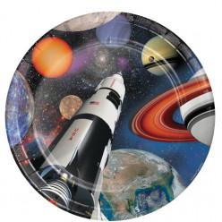 Pratos Space Blast 23 cm - 8 uni