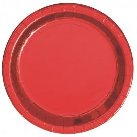 Pratos Vermelhos Metalizados 18cm – 8 Und